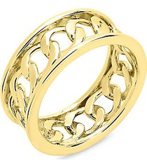 14k goldplated sterling silver curb chain band ring