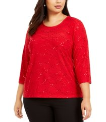 jm collection plus size sequined textured top, created for macy's