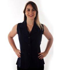colete feminino social premium two way - preto ks casual & sport