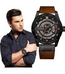 reloj militar moda caballero curren análogo brazalete piel