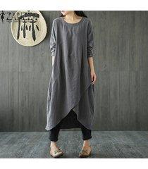 zanzea s-5xl mujeres spring o cuello de manga larga irregular partido de la primavera sólido hem vestido suelto de algodón de lino retro de split vestido -gris