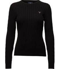 stretch cotton cable c-neck gebreide trui zwart gant