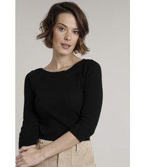 blusa feminina canelada em tricô manga 3/4 decote redondo preta