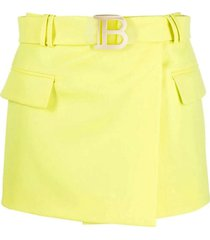 balmain short lime green grain de poudre fabric skirt