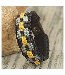 men's wristband bracelet, 'black beauty' (ghana)
