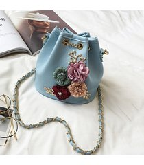 elegante fiore in pelle pu modello secchio borsa spalla borsa tracolla borsas