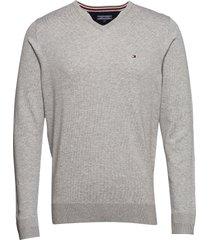 core cotton-silk vne stickad tröja v-krage grå tommy hilfiger
