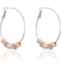 orecchini a cerchio in metallo bicolore e strass per donna
