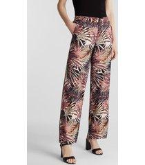 pantalón ancho con estampado tropical negro esprit