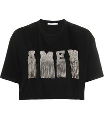 amen crystal-embellished cropped top - black
