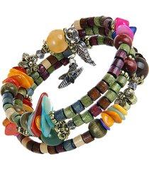 unisex braccialetto lungo a multistrati con perline di legno di stile bohemien tibetano buddista come regalo