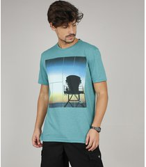 camiseta masculina praia manga curta gola careca verde água