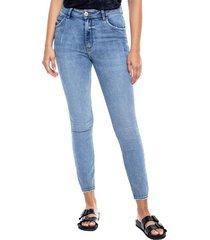 high waist skinny jeans tono medio color blue
