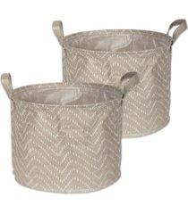 design imports polyethylene coated woven paper laundry bin tribal chevron stone round small set of 2