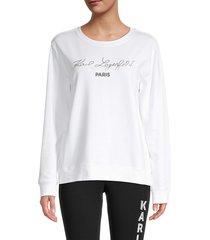 karl lagerfeld paris women's script logo sweatshirt - soft white - size m