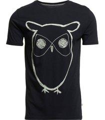 alder big owl tee - gots/vegan t-shirts short-sleeved blå knowledge cotton apparel