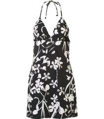 chanel pre-owned 2004 floral halterneck swimsuit dress - black