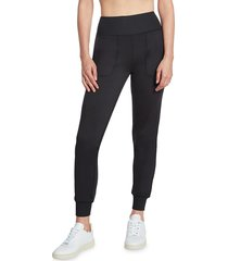 sage collective women's high-rise slim jogger pants - black - size m