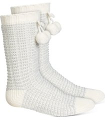charter club women's striped slipper socks with faux-sherpa lining, created for macy's