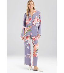 natori winter peony pajamas, women's, blue, size xs natori