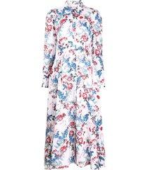 erdem josianne bird blossom dress - white