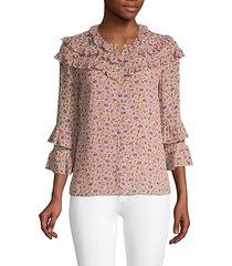 zelma silk-blend ruffle printed blouse