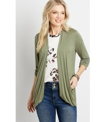 maurices womens green long sleeve slouchy pocket cardigan