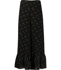 see by chloé all-over print trousers - black