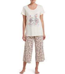 hue women's joy in the journey t-shirt & capri pants pajama set