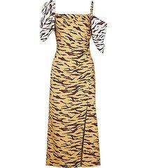 amelia tiger-print satin-twill midi dress