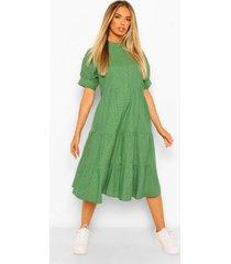flannel print puff sleeve tiered midi dress, green