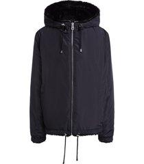 reversible faux fur jas donan  zwart
