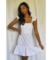 broiderie anglais frill hem mini dress, white