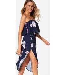 azul marino sin espalda diseño estampado floral al azar fuera del hombro vestido