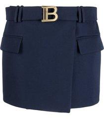 balmain logo buckle wrap mini-skirt - blue