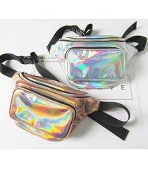 donne harajuku style reflective laser vita borsa petto regolabile borsa imbracatura di personalità borsa