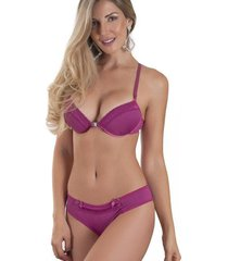 conjunto lingerie microfibra tanga alças correntes lilás