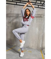 'nyc' varsity rib sweater & jogger set, grey