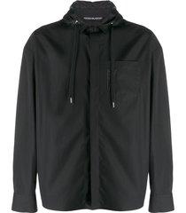 neil barrett hooded zip-up shirt - black