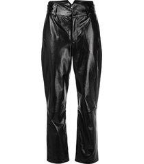 fleur du mal patent v-yoke trousers - black