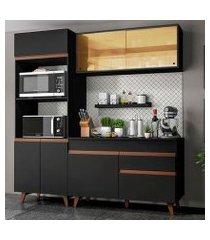 cozinha compacta madesa reims 190002 com armário e balcão preto preto