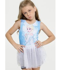 body infantil estampa frozen fantasia tule disney