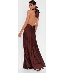 womens big entrance satin maxi dress - chocolate
