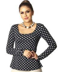 blusa ficalinda manga longa poá de bolas s decote redondo evasê feminina