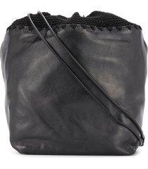 jil sander drawstring crochet shoulder bag - black