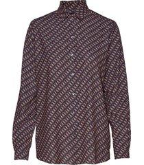 karolina moondog print overhemd met lange mouwen blauw whyred