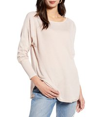 women's treasure & bond thermal knit shirttail hem long sleeve tee, size x-large - brown