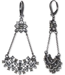 marchesa hematite-tone crystal & imitation pearl cluster open drop earrings