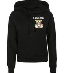 moschino bear logo printed hoodie
