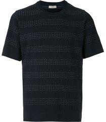 egrey ribbed stripes t-shirt - blue